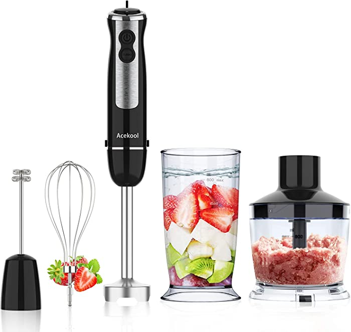 Hand Blender, 5-in-1 Immersion Stick Blender 12-Speed 800W Electric Handheld Blender Set with 500ml Chopper, 600ml Container, Milk Frother, Egg Whisk for Puree Infant Food, Smoothies, Sauces, Soups