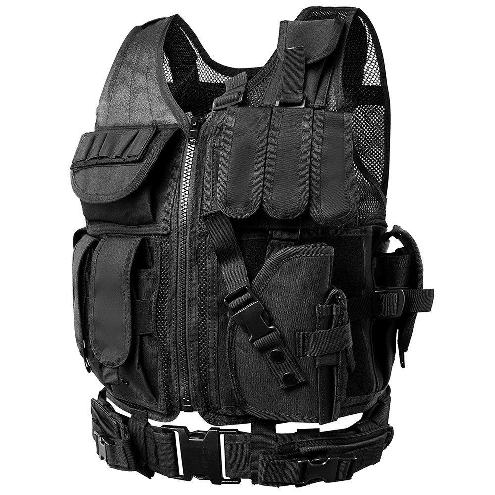 Ajustable Táctico Chaleco con pistolera y bolsas - Molle táctico chalecos de especialmente diseñado para Militar, CS campo, SWAT, Police, el cumplimiento de ...