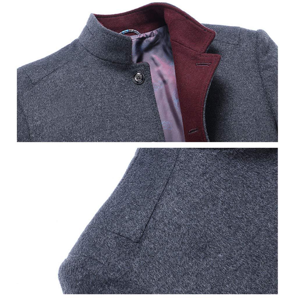 ZzWwYy Mens Business Casual Woollen Manteaux d'hiver Chaud extérieur Simple Classique Breasted Pardessus Bureau de Travail de soirée de Mariage Robe Costumes Veste Red