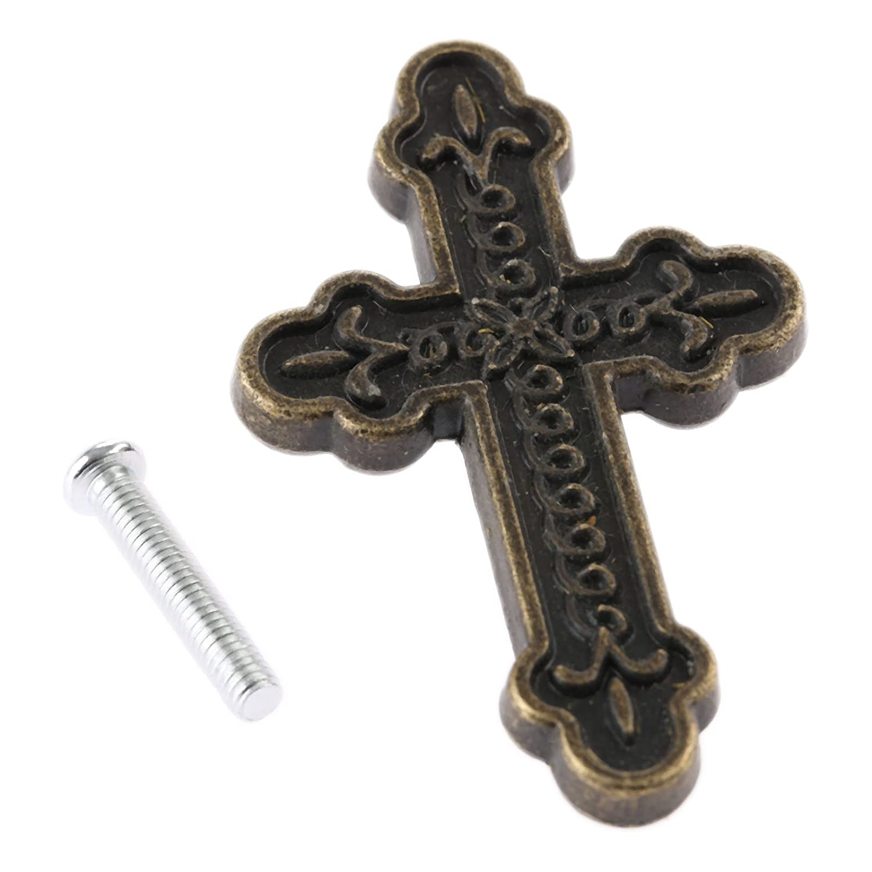 4Pcs Antique Bronze Cross Handle Pull Knob for Furniture Closet Box Cabinet Drawer Knob 53x38mm