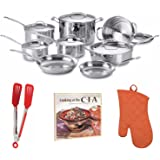Cuisinart Chef039;s Classic 14-Piece Deluxe Stainless Steel Cookware Set + Free Cookbook, Oven Mitt and Flipper T