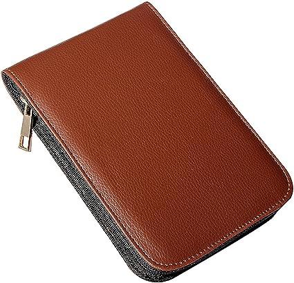 Estuche de pluma - SODIAL(R) Papeleria sostenedor estuche carpeta de cuero marron de rodillo de pluma fuente para 12 plumas: Amazon.es: Oficina y papelería