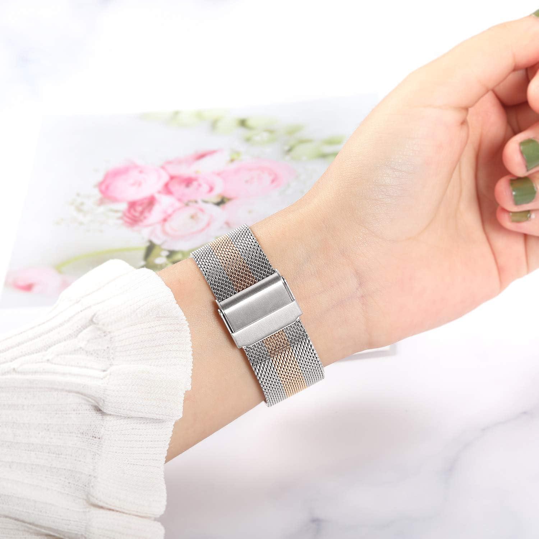 20mm Bracelet de montre en acier inoxydable tiss/é pour Garmin Vivoactive 3//Vivoactive 3 Music//Forerunner 245//645 Music TRUMiRR Remplacement pour Garmin Vivoactive 3//Vivoactive 3 Music Bande de Montre
