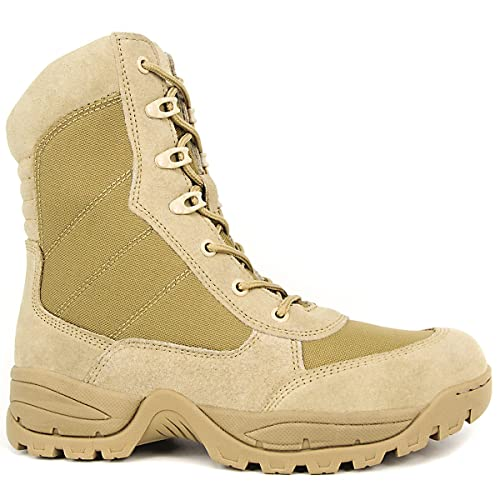 ddf2bd17122 WIDEWAY Men's 8'' Military Tactical Boots Outdoor Water Resistant Boots  with Zipper