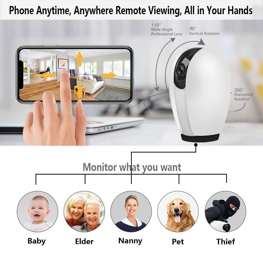 Wireless Security Camera, Zeetopin 1080P HD Wireless WIFI Home Security surveillance Camera for Baby/Elder/Pet/Nanny Monitor with Night Vision and Two-way Audio