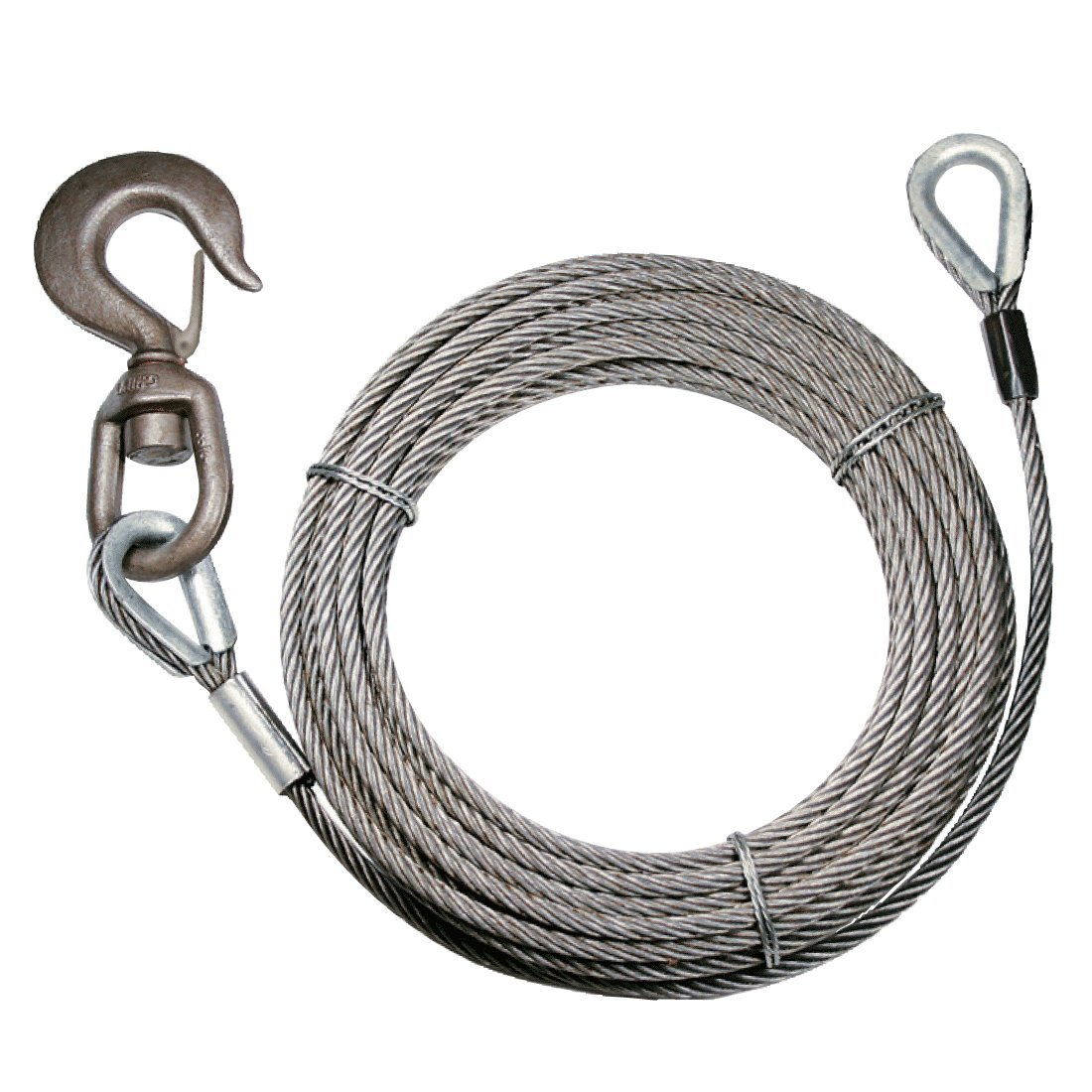 Vulcan Classic Fiber Core Extension Winch Cable With Swivel Hook And Eye - 13,950 lbs. Minimum Breaking Strength (3/8'' x 50')