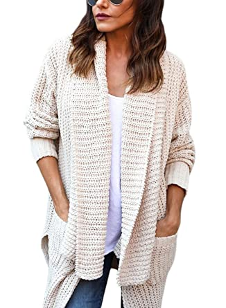 690610da52 FIYOTE Womens Fashion Ladies Oversize Winter Chunky Long Sleeve Open Front  Knit Cardigans Sweaters Pullover Tops