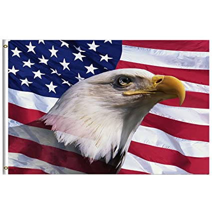 52269340157 Freedom Patriotic Bald Eagle American Flag 3x5 Feet with Brass Grommet  Double Stitch America USA Flag