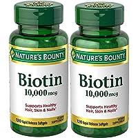 Nature's Bounty Biotin Suplemento, apoya el cabello sano, la piel y las uñas, 10000 mcg, 120 cápsulas blandas, 120 Count (Pack of 2)