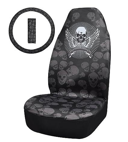 Fstart Universal Fit Skull Auto Car Seat Covers Black