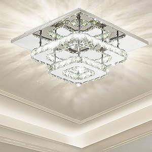 Ganeed Crystal Ceiling Light,Dimmable Modern Flush Mount Lights Fixture,Square Crystal LED Ceiling Lighting Chandelier for Dining Living Room Bedroom(36W/3000-6500K)