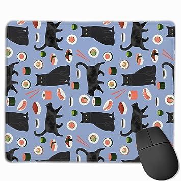 Cojín de ratón de la Tela del Sushi del Gato Negro ...