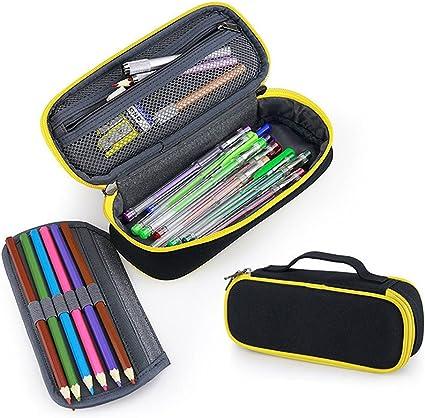 Estuche grande para lápices Fuyao, varios compartimentos, papelería escolar y oficina, estuche organizador para estudiantes., color negro: Amazon.es: Oficina y papelería