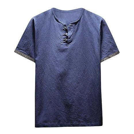 Camisa de algodón para hombres,Sonnena ❤ Chaleco de lino y algodón casual de verano para hombres Camiseta de manga corta con cuello en v Blusa superior: ...