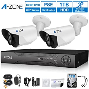 A-ZONE 4 Channel 1080P DVR AHD Surveillance Camera System W/ 2x HD 1.3MP waterproof Night vision Indoor/Outdoor CCTV Home Security Cameras, Including 1TB HDD