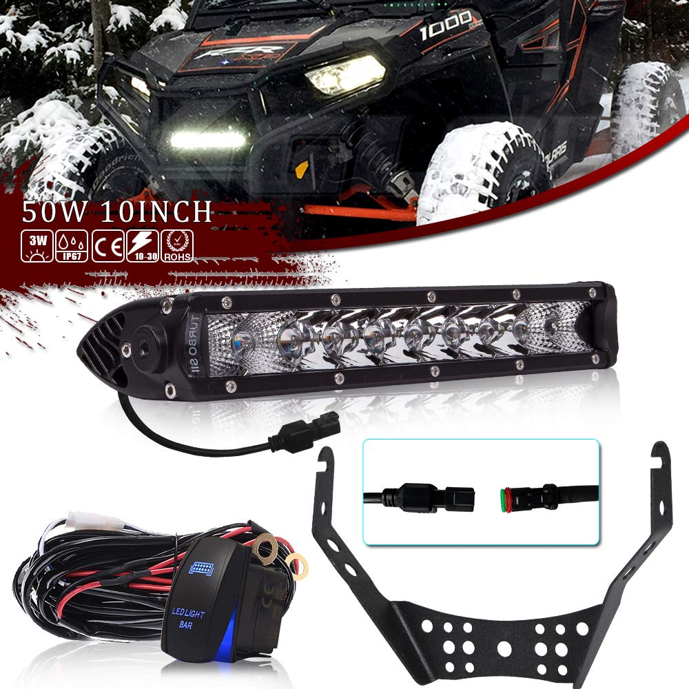 TURBOSII Single Row 10/11Inch Led Fog Light Bar w/Handlebar Mounting Bracket For ATV UTV dirtbike Polaris Sportsman Outlaw 525 Trail Boss 325 Honda TRX 450r LTR450 LTZ400 KFX400 Raptor yfz450r
