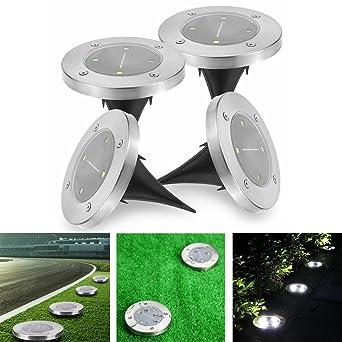 Lampe Au Sol Solaire Jardin 4 Pcs 4led Spot Etanche Capteur De