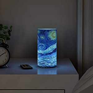 Lavish Home LED Starry Night Candle with Remote Control Timer Van Gogh Art on Vanilla Scented Realistic Flickering or Steady Flameless Light-Decor