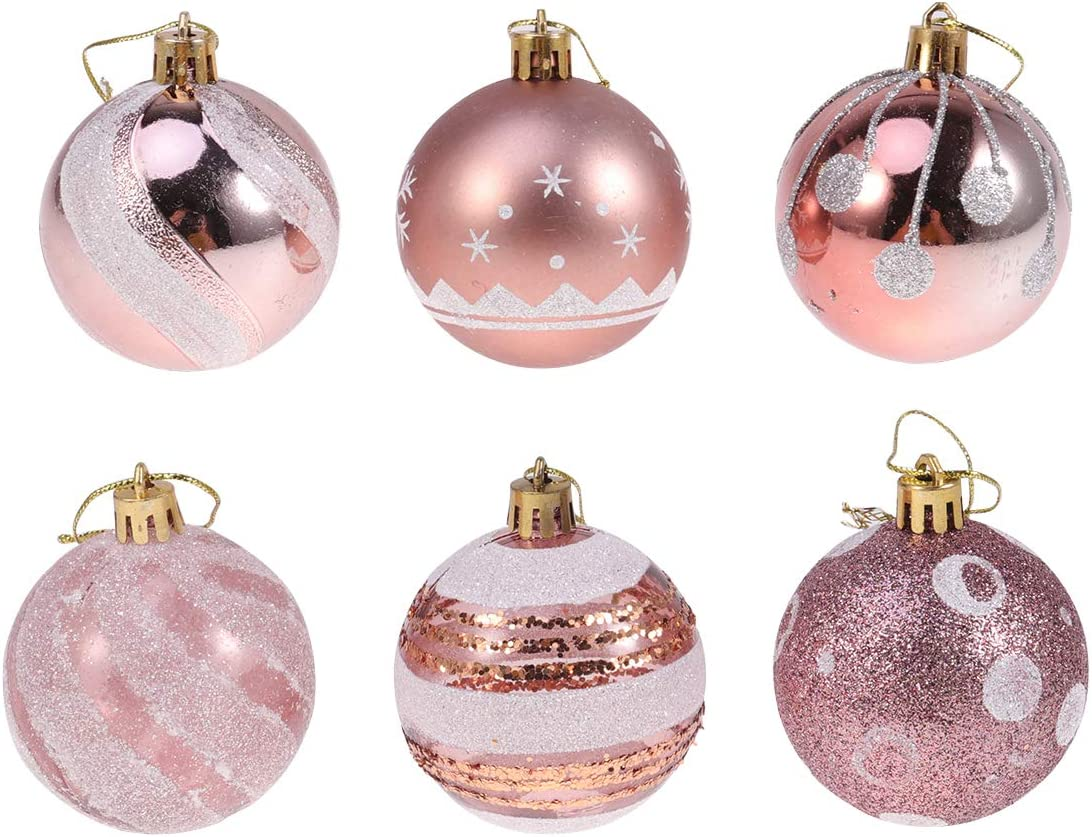 24Pcs 6cm Christmas Balls Hanging Halloween Decoration Party Favors Christmas Tree Ornaments for Party Ball Prom Rose Gold Pattern