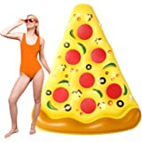 Parentswell Giant Inflatable Pizza Slice Pool Float, 73in Fun Pool Floatie with Cup Holder, Summer Pool Raft Beach Lounge Toy