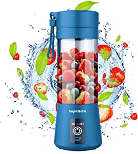 Portable Blender, Supkitdin Personal Mixer Fruit Rechargeable with USB, Mini Blender for Smoothie, Fruit Juice, Milk Shakes, 380ml, Six 3D Blades for Great Mixing (Navy Blue)