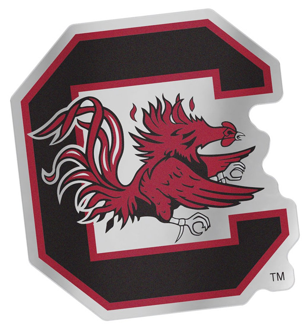 South Carolina Gamecocks Auto Badge Decal Hard Backed Thin Plastic 4.1x3.75 inches