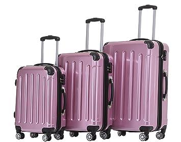 Beibye 2048 - Juego de maletas de viaje rígidas con ruedas, tamaños M-L-XL, en 17 colores, Negro , large: Amazon.es: Deportes y aire libre