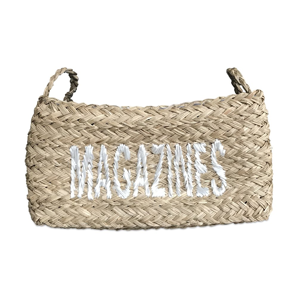 Whole House Worlds Everyday Essential Organizer Basket, Laid Back Shabby Style, Seagrass, Rectangular, Stitched and Lined with Blue Polyester, 17¼ L x 11¾ W x 11 H Inches, By
