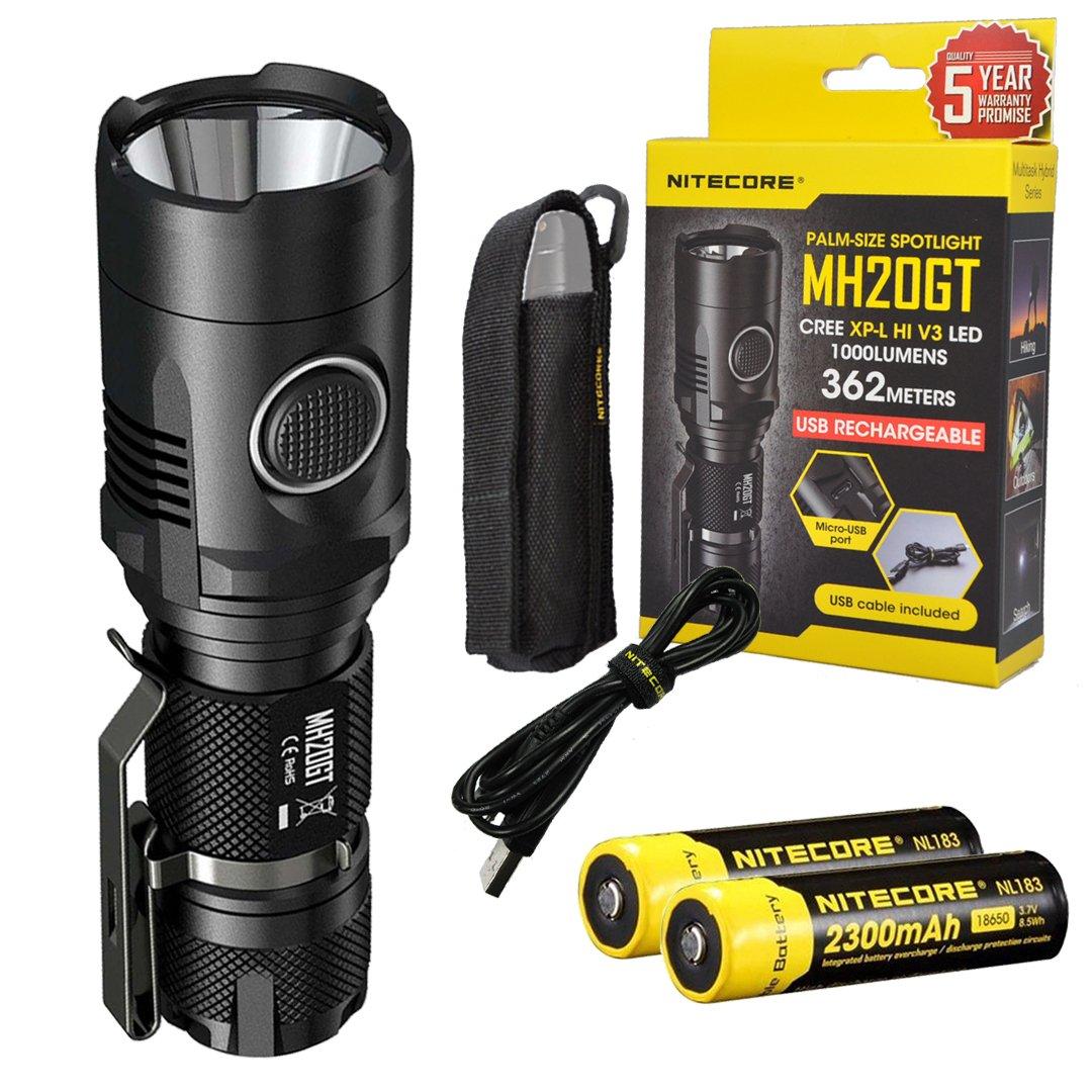 Nitecore MH20GT 1000 Lumens USB Rechargeable Long Throwing CREE XP-L HI V3 Flashlight with 2x Nitecore 2300 mAh 18650 Li-ion Battery, LumenTac Adapters by Lumen Tactical