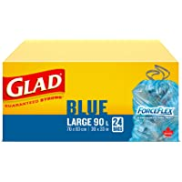 Glad Blue Recycling Bags - Large 90 litres - Forceflex, Drawstring, 24 Trash Bags 24 count