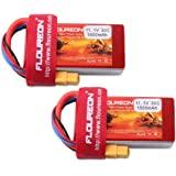FLOUREON 2Packs 3S 11.1V 1500mAh 35C LiPo Battery Pack with XT60 Plug for RC Evader BX RC Car Skylark m4-fpv250 Mini Shredder 200 Qav250 Vortex Drone and FPV