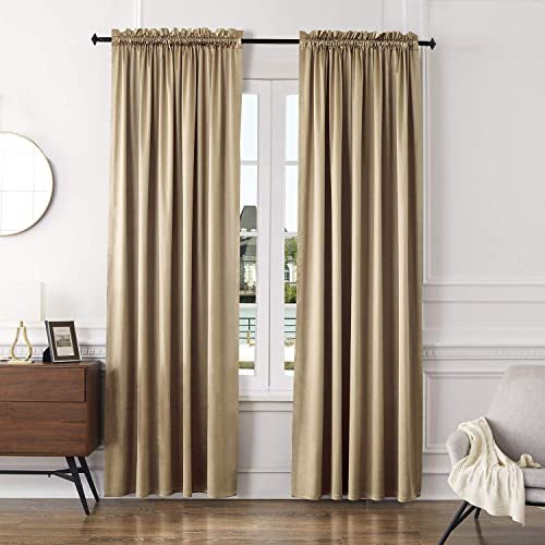 VOGOL Beige Blackout Drapes and Curtains 96 Inches Long, Energy Efficient Black Backing Curtain for Bedroom Living Room, 52X96, 2 Panels