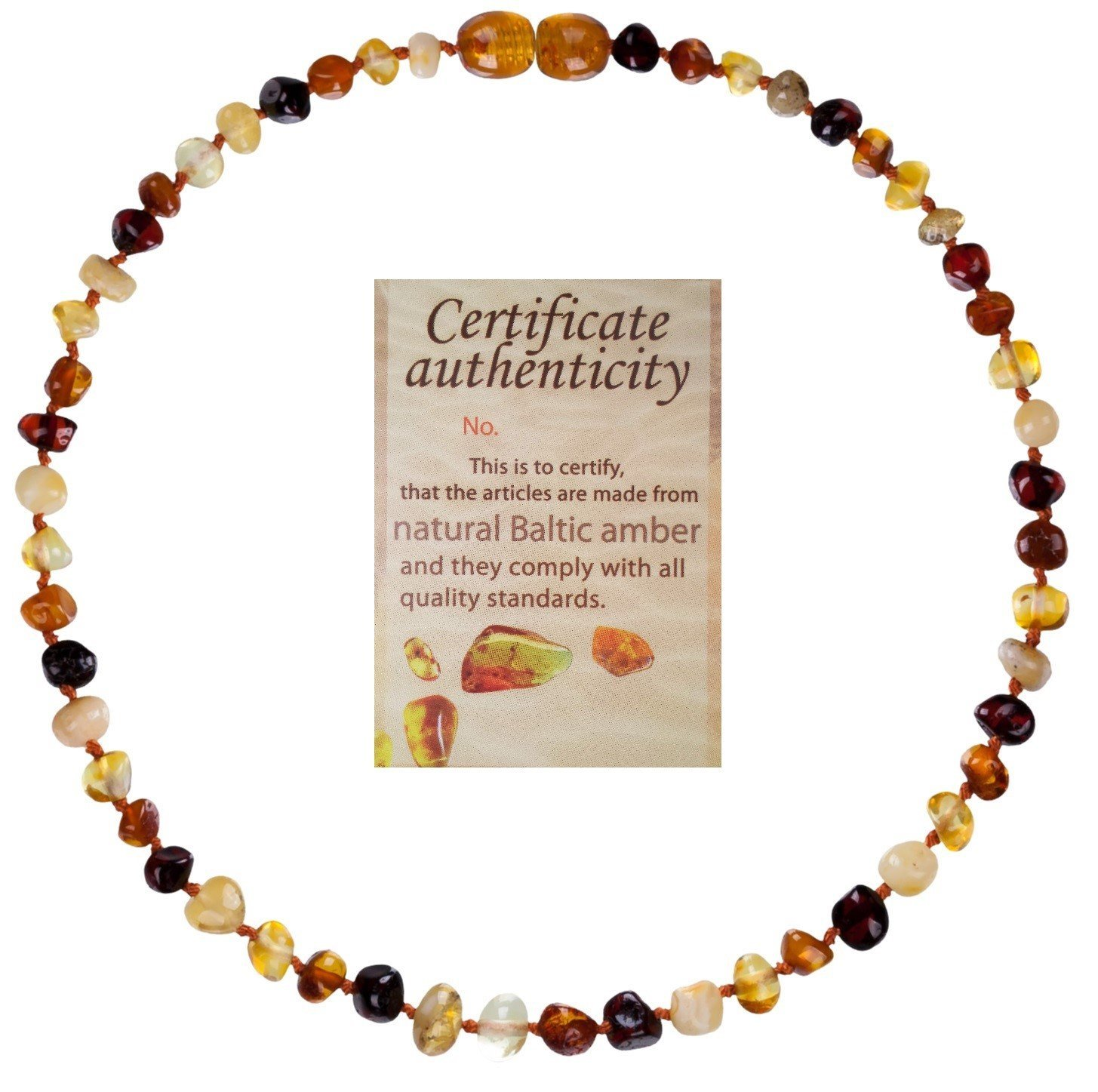 Mommy's Touch 100% Natural Amber Teething Necklace (Multi-Color) - Anti-Inflammatory & Teething Pain Reducing Properties Unisex Necklace With Twist-in Screw Clasp by Mommy's Touch