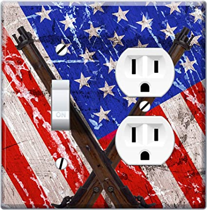 Wirester Double Gang 1 Duplex Outlet Cover And 1 Toggle Light Switch Plate Wall Plate Cover Vintage American Usa Flag Old Rifle