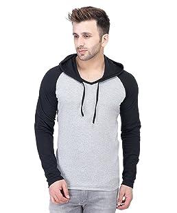 Zembo Men's Cotton Hooded Full Sleeve T-Shirt (Light Grey, Large)