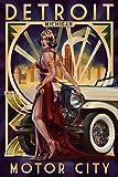 Detroit, Michigan - Deco Woman and Car (12x18 Art Print, Wall Decor Travel Poster)