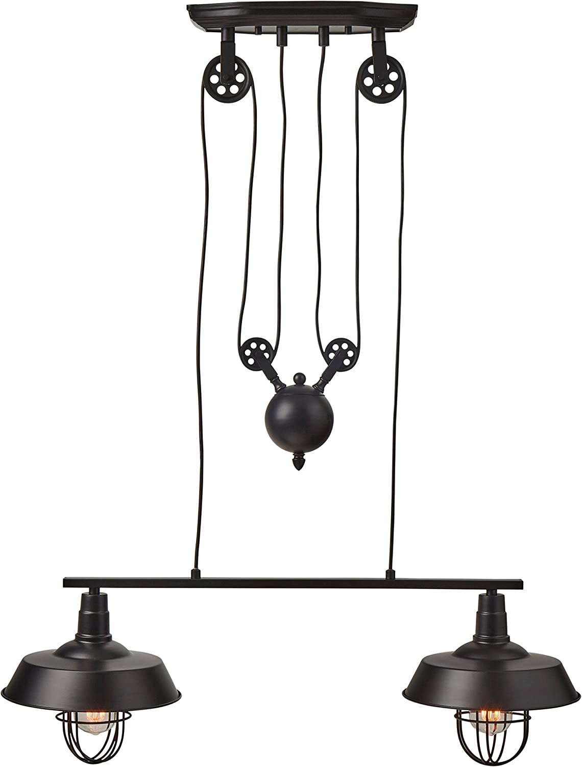 Stone Beam Industrial Farmhouse Pulley Double Cage Pendant Hanging Ceiling Chandelier With Light Bulbs – 32 Inch, 40 – 65 Inch Cord, Black