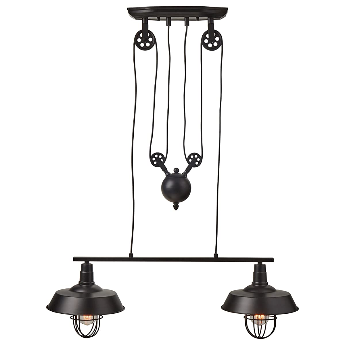 "Stone & Beam Farmhouse Pulley Double Pendant With Bulbs, 40"" - 65""H, Black"