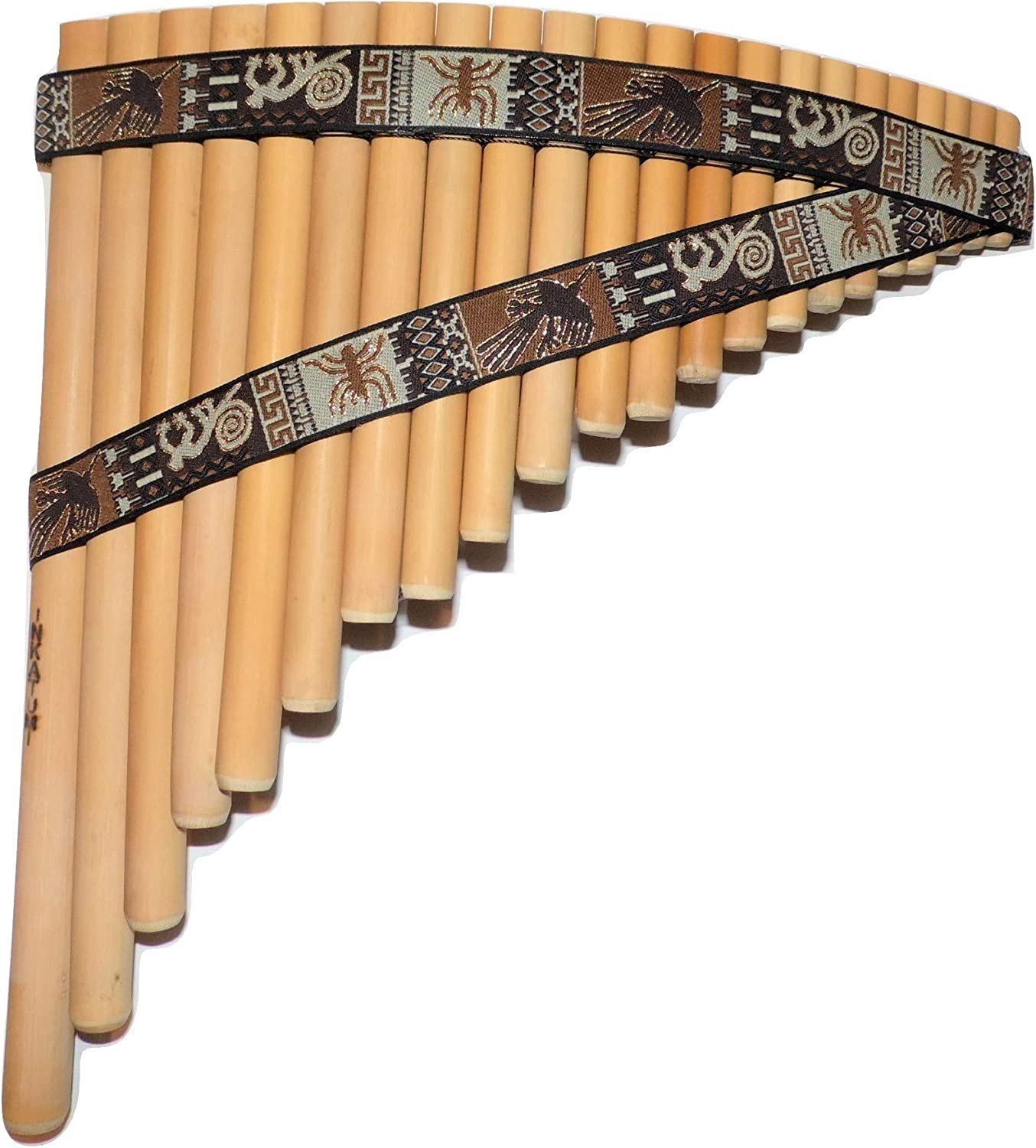 Case-Included Bamboo Pan Flute 18 pipes Nazca Design