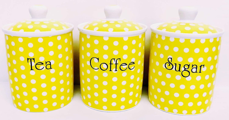 Yellow Dots Tea Coffee Sugar Canisters Fine Bone China Yellow