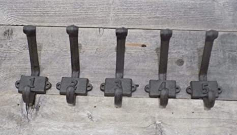 Amazon.com : 5 numbered cast iron rustic school style coat hooks hat