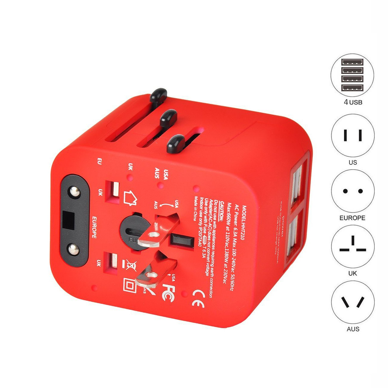 MakerFun Travel Adapter Universal Travel Adapter Kit with 3.5A 4 USB Ports Travel Plug Adapter Covers 150+Countries Europe UK/Germany/France/Canada/Mexico and More Red