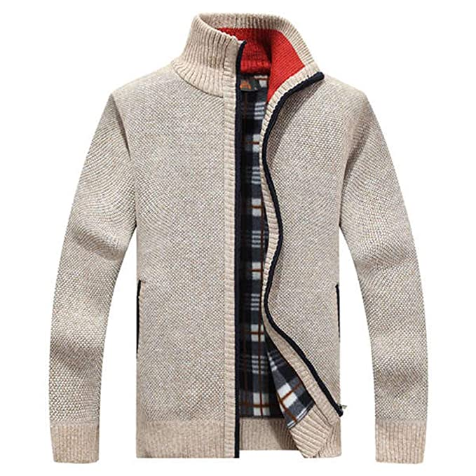 9076e19682 Tunge 2019 New Mens Fleece Jacket Autumn Winter Casual Wool Coat Male Solid  Color: Amazon.ca: Clothing & Accessories
