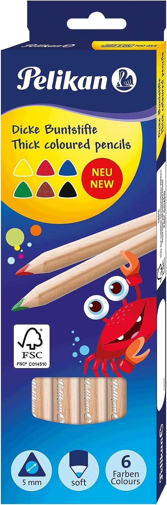 Pelikan Jumbo 700054 - Lápices de colores (6 unidades, estuche de cartón): Amazon.es: Oficina y papelería