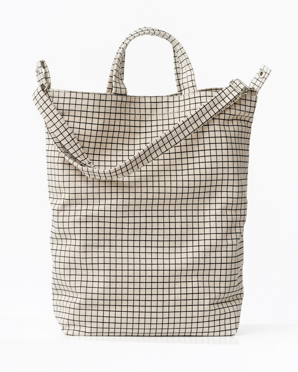BAGGU Duck Bag Canvas Tote, Essential Everyday Tote, Spacious and Roomy, Natural Grid by BAGGU