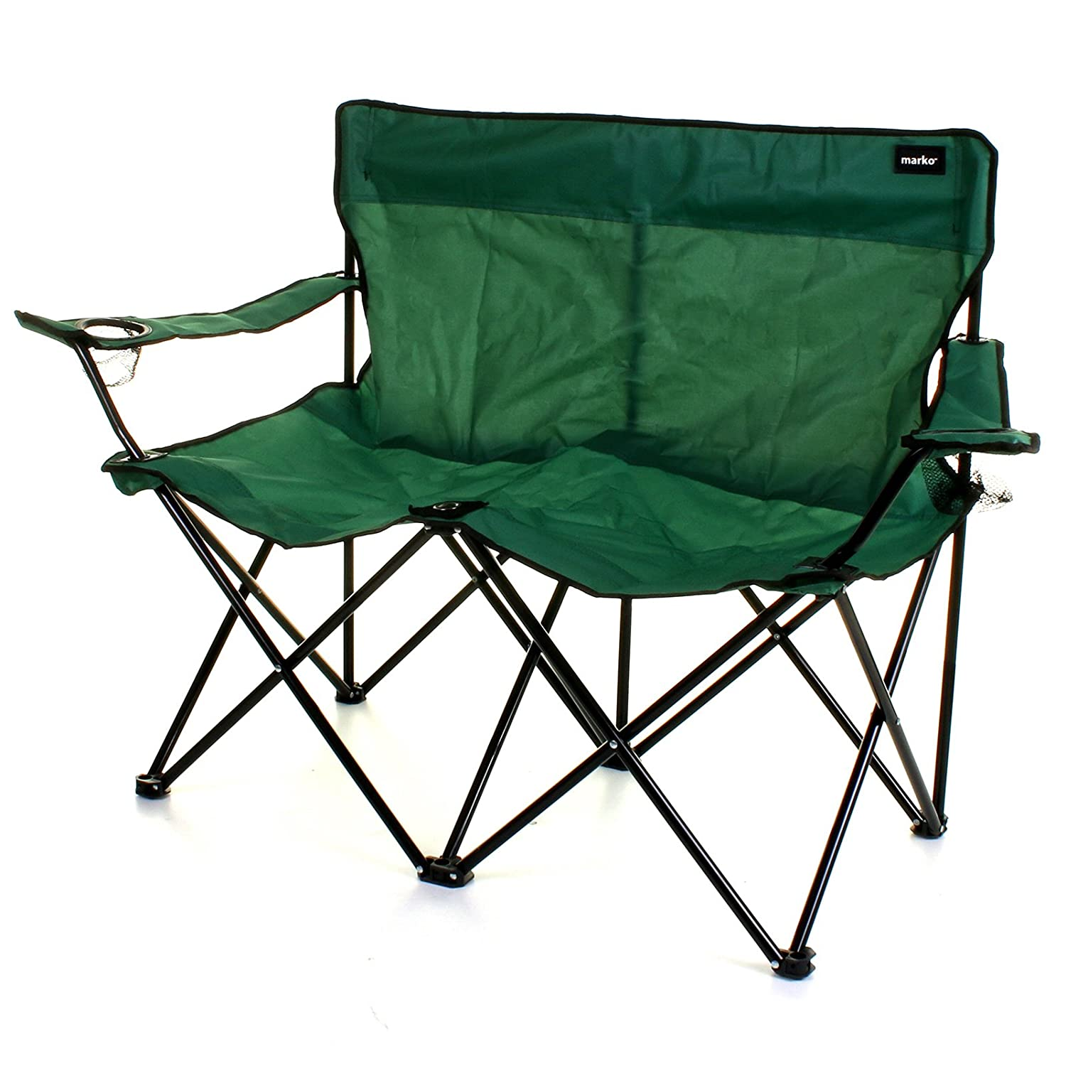 Surprising Marko Outdoor Double Camping Chair 2 Seater Folding Portable Fishing Picnic Steel Festival Green Pabps2019 Chair Design Images Pabps2019Com