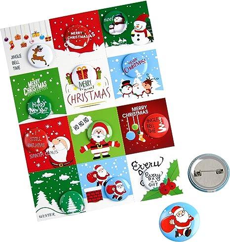 FEPITO 12 Pcs Botones de Feliz Navidad Botones Mini Pinback con ...