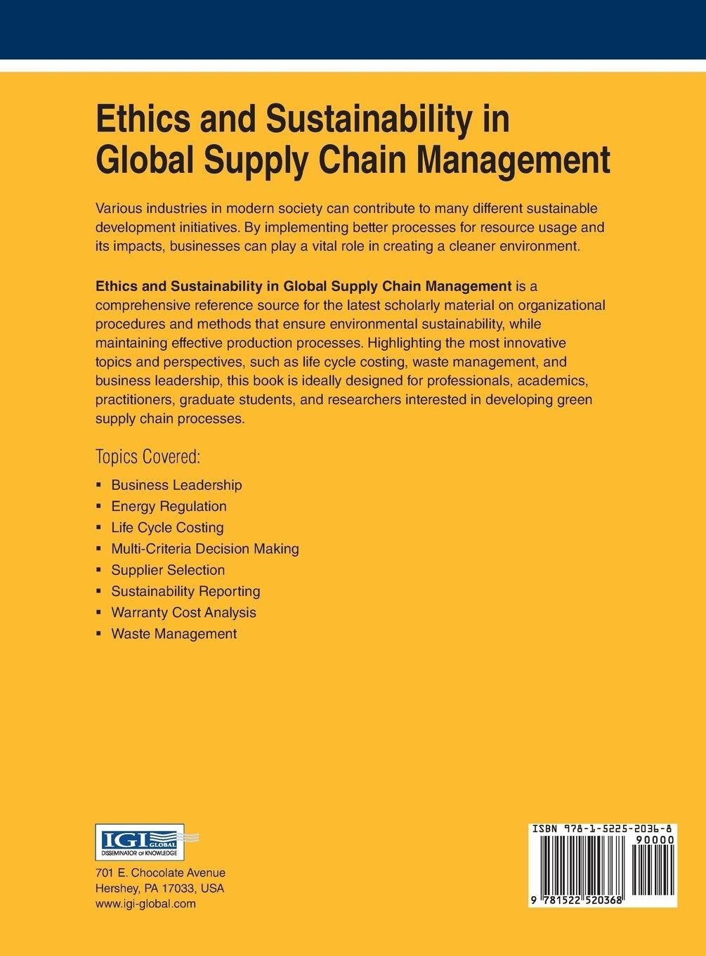 Buy Ethics and Sustainability in Global Supply Chain