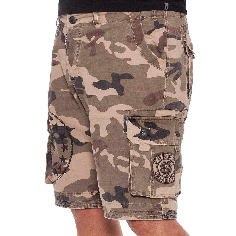 UNCS Herren Cargo Shorts Gilam Camouflage Skull kurze Hose mit Cargotaschen