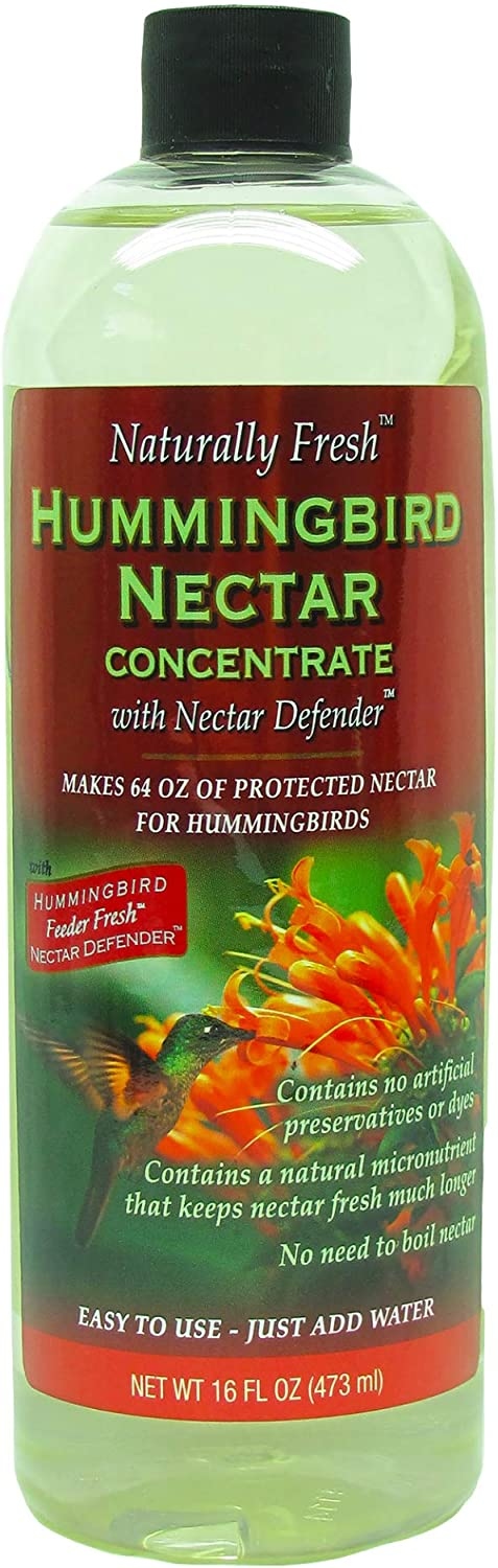 Naturally Fresh Hummingbird Nectar with Nectar Defender Lasts Longer in Hummingbird Feeders | Clear Hummingbird Nectar Concentrate for Outdoor Hummingbird Feeders | Makes 64 ounces